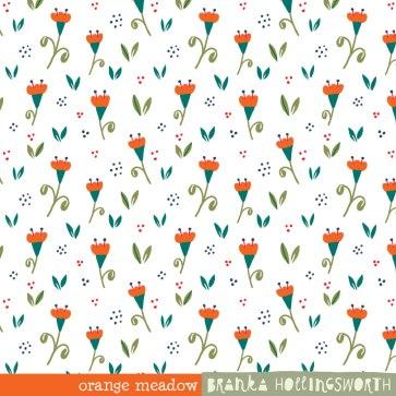 Pattern Orange Meadow by Branka Hollingsworth